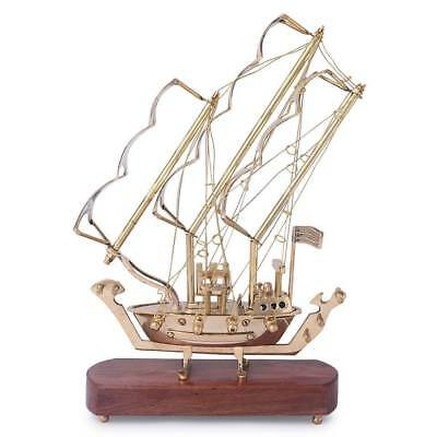 Antique Brass Pirate War Ship Model on Wood Base Christmas Gift