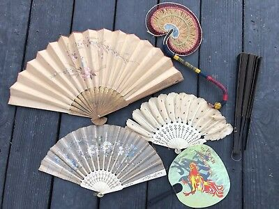 Antique Or Vintage Hand Fans Lot Of 6- Made of Bone, Silk, Wood, Plastic, Paper