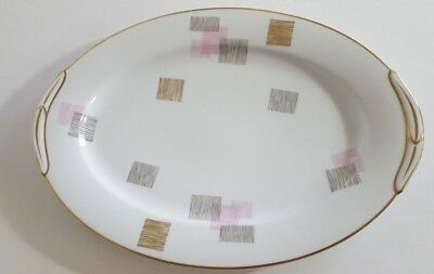 Noritake Pauline 14 Inch Oval Serving Platter 1950s China Pink Tan Squares  9612