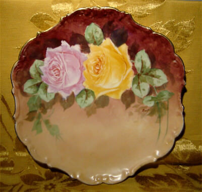 Limoges Ldbc Flambeau Handpainted Plate Yellow & Pink Roses Artist Signed France