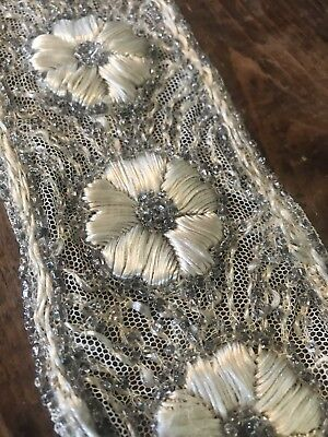 Antique French 1900's  Net Lace Beadwork Satin Stitched Trim Chic