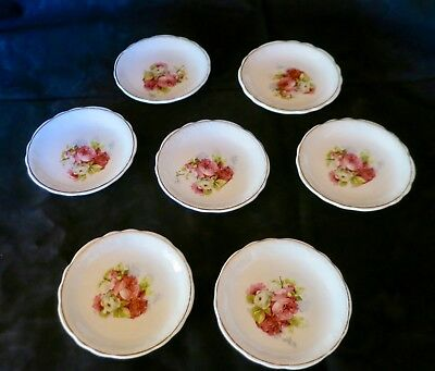 7 Victorian Butter Pats with Rose Bouquet & Gold Rim Scalloped Edge