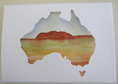 WATERcolour RED centre AYERS rock AUSTRALIA hand PAINTED card HOBBY craft ART