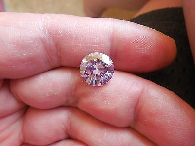 Fiery 4.24 ct Pinkish Purple Color Round Loose Moissanite VVS1 10.05 mm