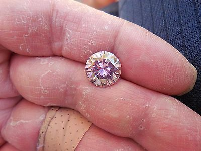 Fiery 3.92 ct Pinkish Purple Color Round Loose Moissanite VVS1 10.50 mm