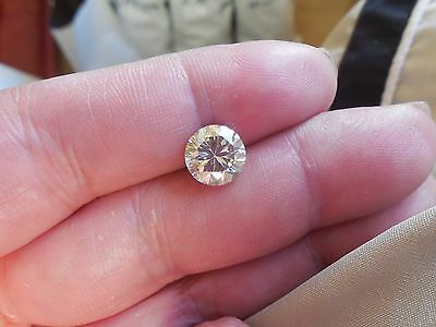 Fiery 2.32 ct Yellow Tint White I-K Color Round Loose Moissanite VVS2 8.70 mm
