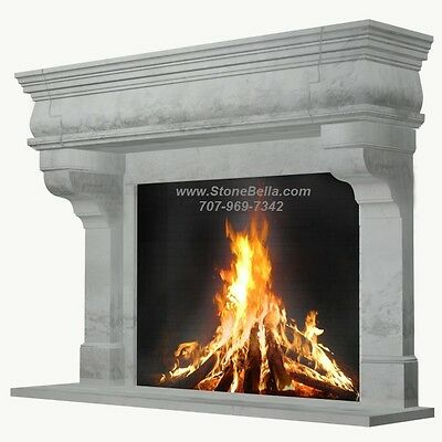 Fireplace Mantel, Large Cast Stone, Rustic Simple Stone Old World Mantle
