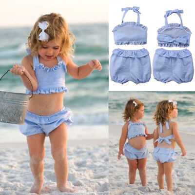 Kids Baby Girl Plaid Sleeveless Crop Tops Shorts Pants Outfits Clothes Summer US