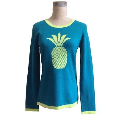 Pineapple Graphic Cashmere Sweater Hannah Rose Turquoise Extra Large L XL