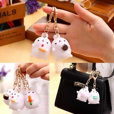 Cute Rabbit Molang Keyring Charm Pendant Keychain Purse Hand Bag Key Ring Chain