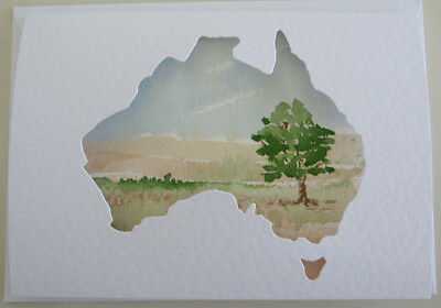 AUSTRALIANA card OUTBACK hand PAINTED landscape TREE bush SKY WATERCOLOUR art