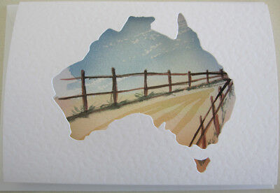 WATERColour FENCES outback AUSTRALIA blues BROWNS art HAND painted CARD DIY