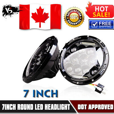 2x  7'' H4 H13 Round Dual Beam LED Headlight For 97-18 Jeep Wrangler JK TJ