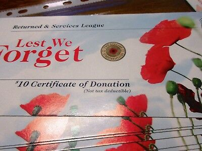 2012 REMEMBRANCE certificate card for RED POPPY $2 ANZAC COIN WW2 RAM