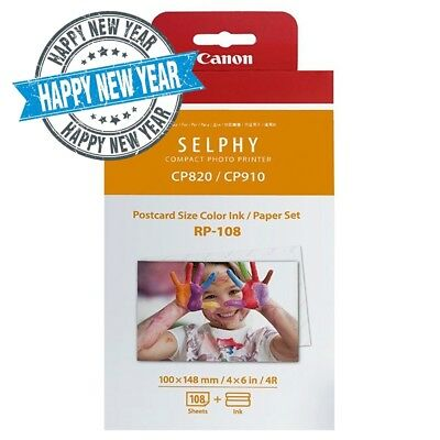 Canon Genuine RP-108 High Yield Ink+Paper Set for Selphy CP1300/CP1200/CP910