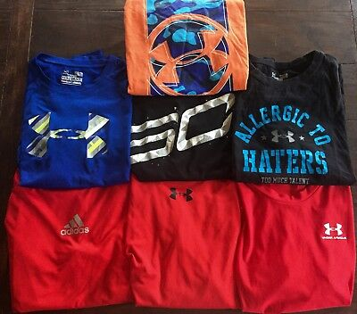 Under Armour Adidas Lot Of 7 youth  Boys Athletic Shirts Large GUC
