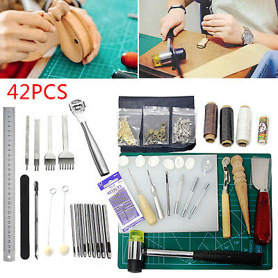 42 Leather Craft Punch Tools Kit Stitching Carving Working Sewing Saddle Groover