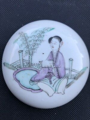 Antique Chinese Porcelain Famille Rose Round Ink/Ointment/Paste Box