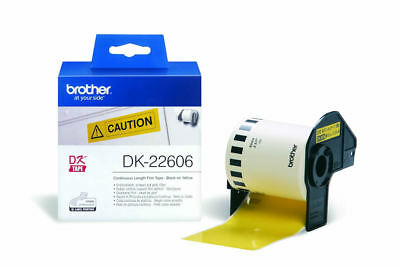 Brother DK-22606 Durable Continuous Length Tape ( 62mmx15.24M)-Black on Yellow