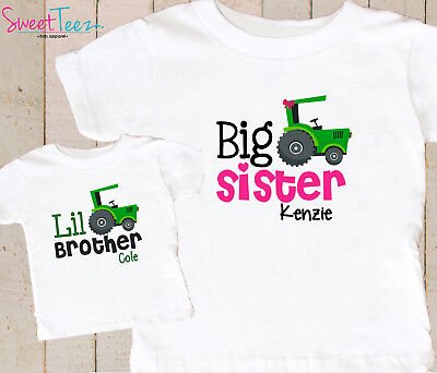 Big Sister Little Brother Shirt Set Personalized Tractor Gift for Baby