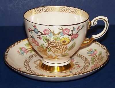 Lovely Vintage Tuscan England Bone China 428H Pink Floral With Gold Cup & Saucer