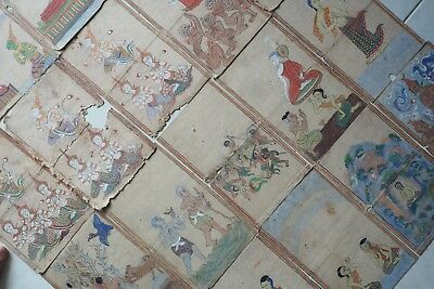 Set 20 page Antique Thailand Manuscript Painting from the 19th Century on book