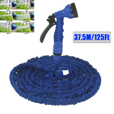 37.5m 125Ft Expandable Pocket Magic Garden Water Hose Pipe 7in1 Spray Head Blue