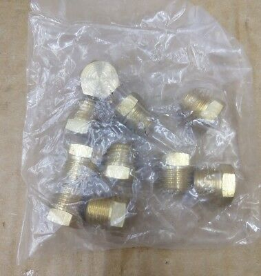 "New Lot Of 10 Male 1/4"" Npt Brass Hex Head Plugs"