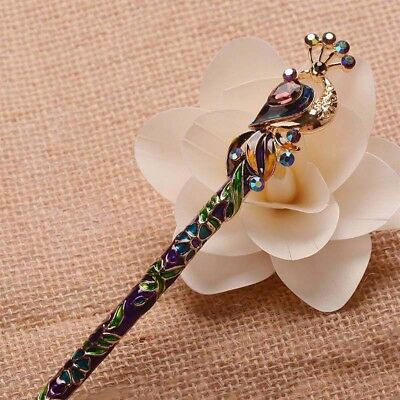 Retro Women Cloisonne Crystal Peacock Hair Stick Hairpin Chinese Style Handmade