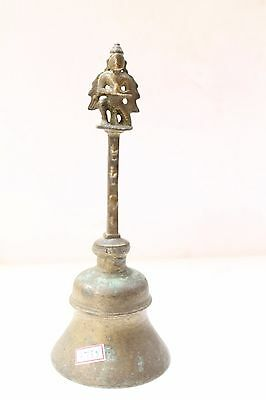 Antique Old Brass Handcrafted Garuda Figure Engraved Bell Rich Patina NH2755