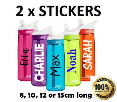 2 x Water Bottle NAME LABELS Personalised STICKERS School Lunch Bike Drink Decal