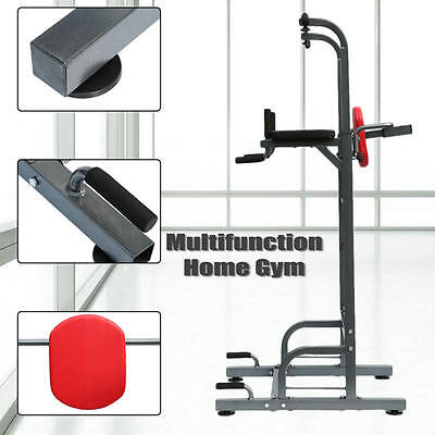 Heavy Duty Dip Station Tower Pull Push Chin Up Bar Home Gym Fitness Core