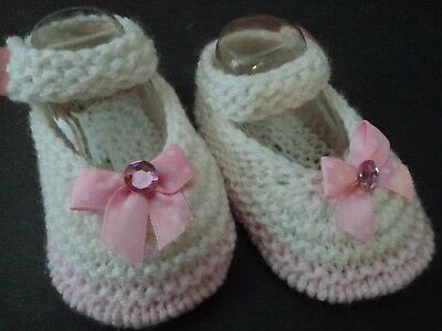 Gorgeous Knitted Preemie Baby Girls/Reborn Doll White & Pink Mary-Jane Shoes.