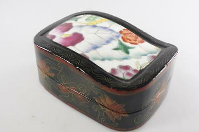 Chinese Vintage Ceramic Lidded Black Lacquer Box