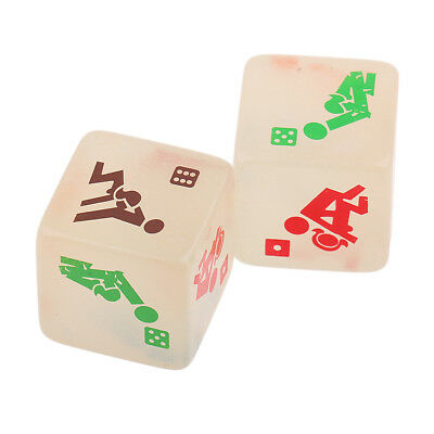 2pcs Glowing 6 Sides Sexual Position Dice for Bachelor Party or Adult Couple