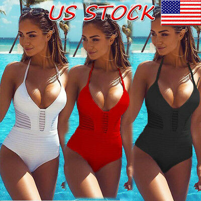 US Women Sexy V-neck Swimsuit Push Up Bikini Swimwear Bathing One Piece Monokini