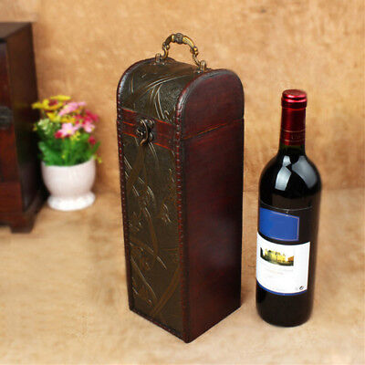 Antique Wooden Single Wine Bottle Carrier Wood Container Storage Gift Box Decor