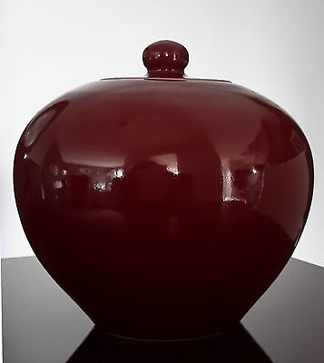 Lovely Antique/Vintage Chinese Deep Red Lidded Ginger Jar