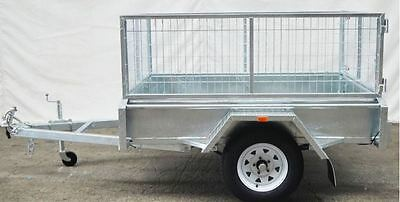 Brand New Hot Dipped Galvanised  6x4 Box Trailer with Cage