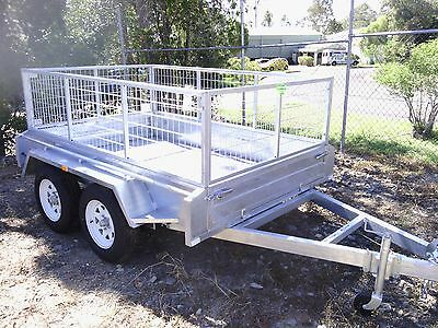 Brand New Hot Dipped Galvanised 10x6 Tandem Box Trailer with Cage