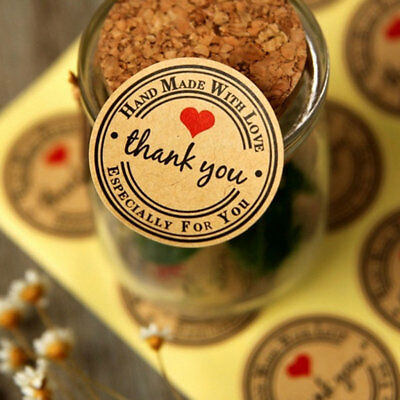 60PC Thank You Wedding Decoration Candy Box Stickers  Vintage Love Heart Favors