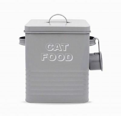 Vintage Retro Style Grey Enamel Large Cat Food Storage Container Tin New