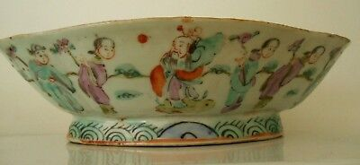 Antique Chinese Famille Rose 1800s Lotus Shape Immortals Buddha Figures 26 cm