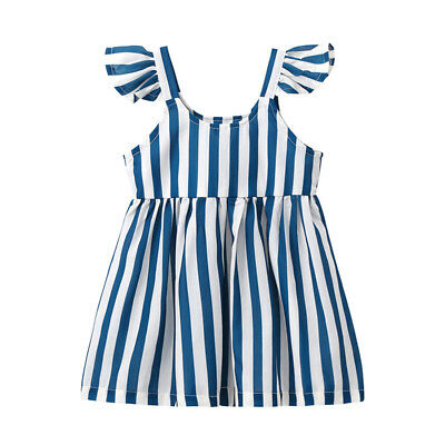 Toddler Infant Kids Baby Girl Princess Striped Sleeveless Dress Party Dresses AU