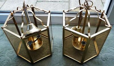 Pair of English Georgian style brassed Hall lanterns