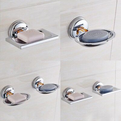 Stainless Steel Soap Dish Home Bathroom Wall Mounted Holder Vacuum Suction Cup