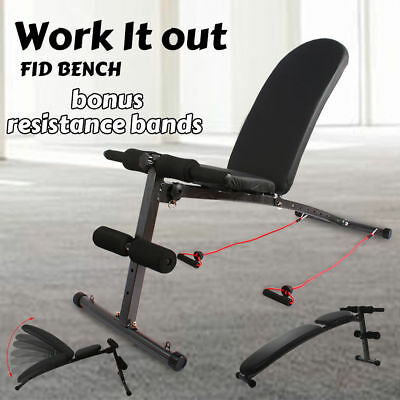 Adjustable Situp FID Bench Press Weight Decline Flat Incline Exercise Fitness GY