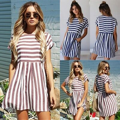 UK Boho Womens Loose Striped Pockets Short Sleeve Holiday Ladies Summer Dress