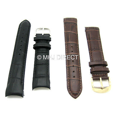 Rotary Style Croco Grain Leather Curved End Quality Watch Strap 18 20 22 24mm