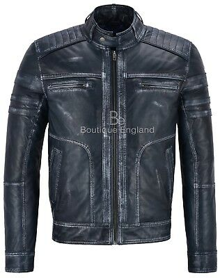 New Men's Real Leather Italian Navy VINTAGE Brave Action Retro Biker Jacket 1106